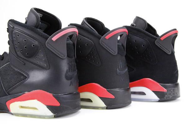 0e6ee8a22ba075 Air Jordan 6 Black Infrared 1991 vs. 2000 vs. 2010 Comparison