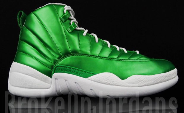 white and green jordan 12