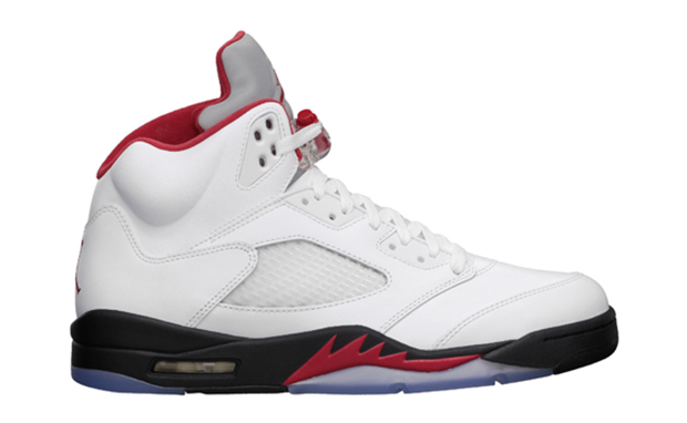 Air Jordan 5 White Fire Red Black