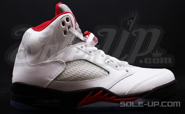 Air Jordan 5 White/Black-Fire Red