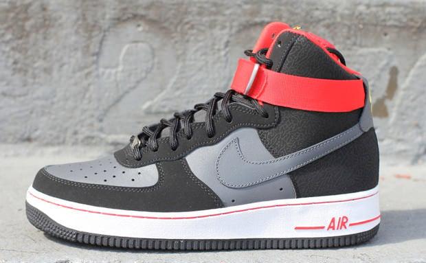 Nike Air Force 1 Hi Black Dark Grey Fire Red Nice Kicks