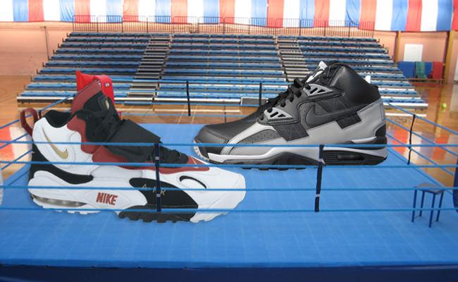 "Sneaker Showdown: Nike Air Max Speed Turf ""49ers"" vs. Nike Air Trainer SC ""Raiders"""