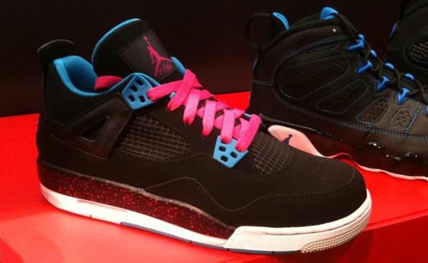Air Jordan 4 GS Black Dynamic Blue Pink