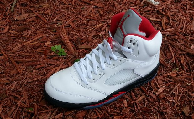 Air Jordan 5 White/Fire Red-Black
