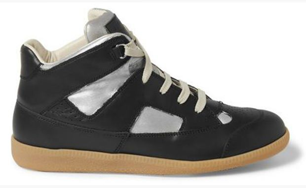 Maison Martin Margiela Painted Panelled-Leather High Top