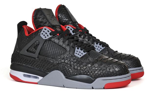 Custom Air Jordan 4 Black Python by JBF Customs