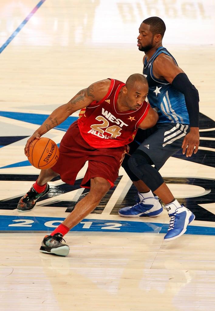 "Kobe Bryant in the Nike Zoom Kobe VII ""Galaxy"" (photo by Mike Ehrmann/Getty Images via Zimbio)"