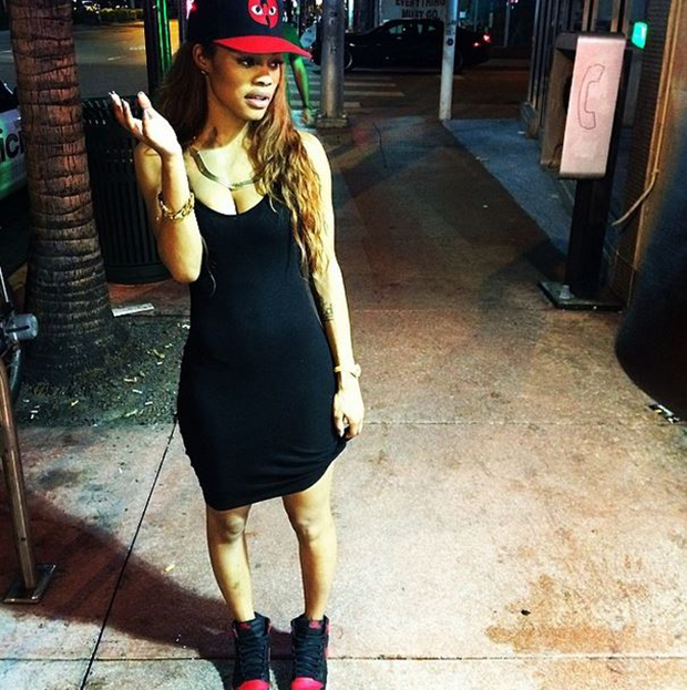 Teyana Taylor in the Air Jordan 1 Black/Red
