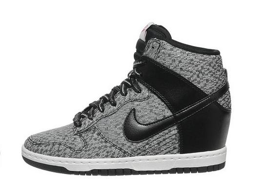 Women's Nike Wmns Dunk Sky Hi TXT Black Wolf Grey Sneakers : A42g546