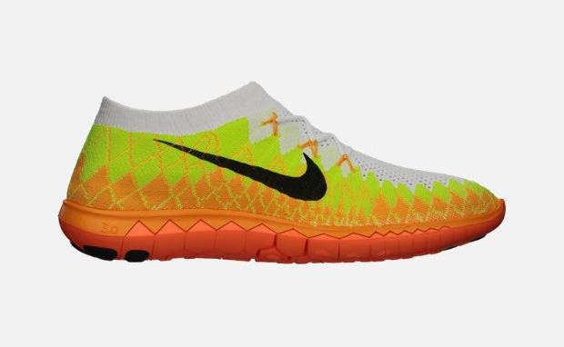 Nike Free 3.0 Flyknit White/Volt-Laser Orange | Nice Kicks