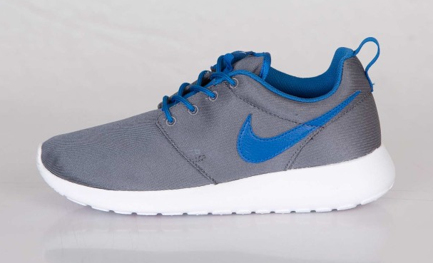 grey and blue roshe runs