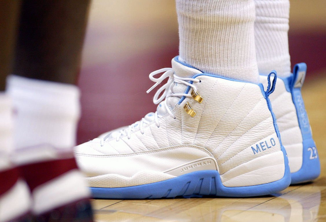 Carmelo Anthony wearing the Air Jordan 12 Melo PE