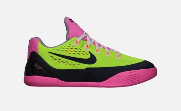 Nike Kobe IX EM GS 653593-701 Volt Midnight Navy Pink Glow Wolf Grey 9 Kids