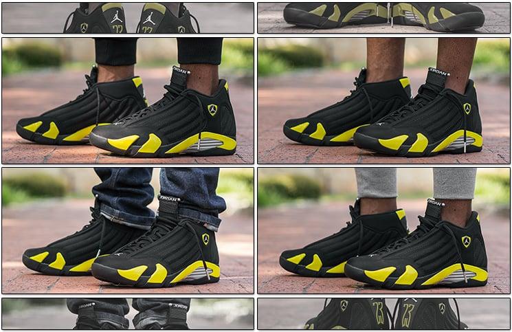 jordan 14 black toe on feet