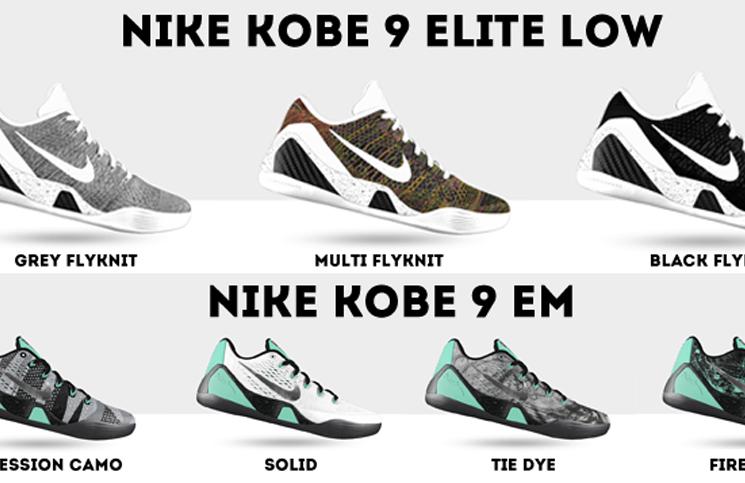 Comparing the Nike Kobe 9 EM & Nike Kobe 9 Elite Low Options on NIKEiD |  Nice Kicks
