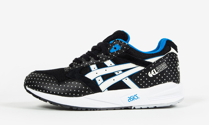 H4a0n 9007 Men's ASICS GEL Saga Black White Blue Glow in The