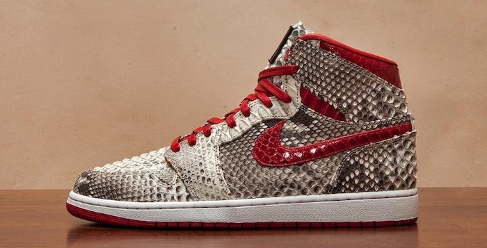 "Air Jordan 1 ""Python"" Natural/Metallic Red Custom"