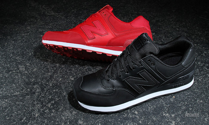 new balance 574 leather red