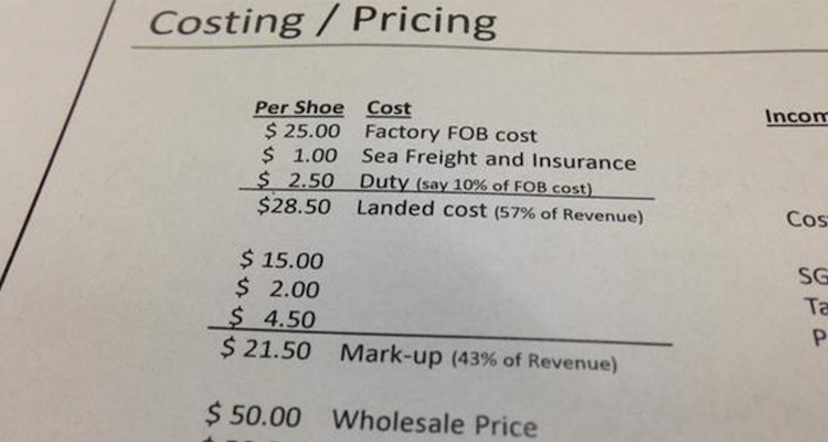 cost to make a nike shoe