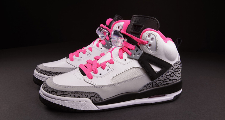 gray white and pink jordans