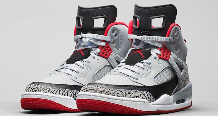 air jordan spizike wolf grey\/gym red-black laces