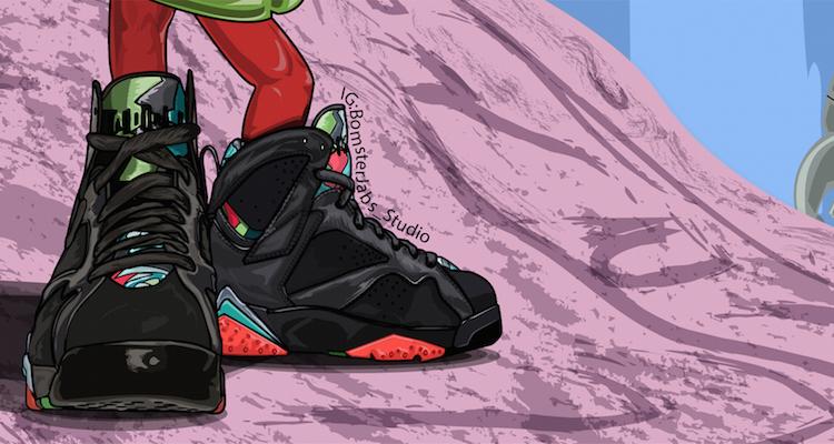 Brian Bomster Jabs Creates Dope Marvin the Martian Air Jordan 7 Art