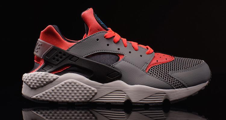 Nike Air Huarache Grey/Crimson Now Available