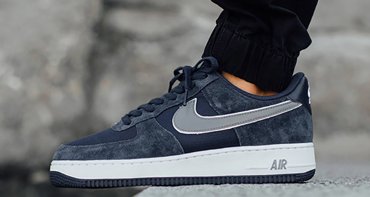 Nike Air Force 1 Minuit Marine / Froid Différenciation Gris-blanc