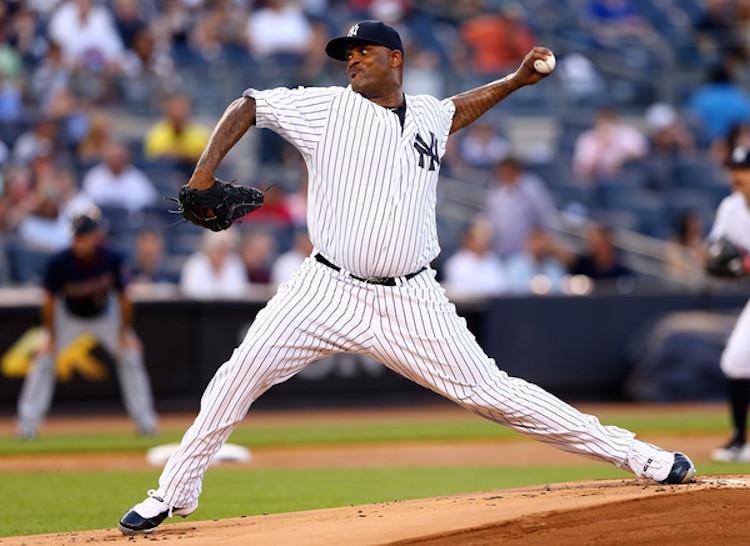 CC Sabathia in a Yankees PE of the Air Jordan 11