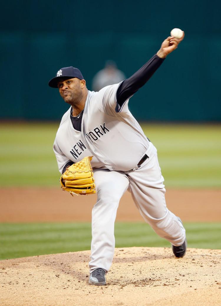 CC Sabathia in a Yankees PE of the Air Jordan 12