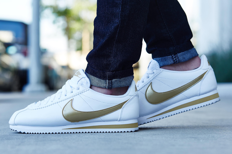 Anciano Dirigir alto  On-Foot Look // Nike Cortez Leather White/Gold | Nice Kicks