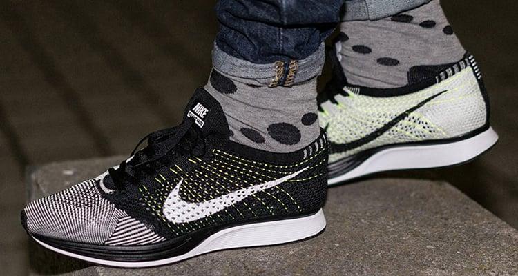 online for sale low cost new arrive Nike Flyknit Racer Black/White-Volt   Nice Kicks