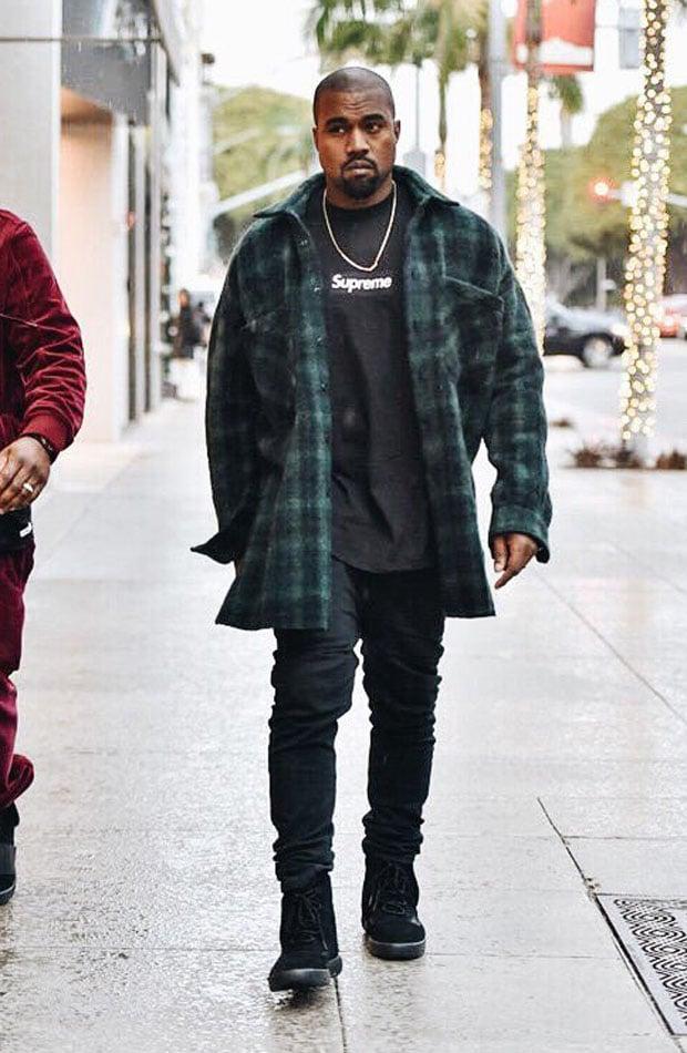 kanye west wearing yeezy 750