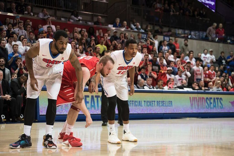 """SMU's Markus Kennedy in the Nike LeBron 12 """"What The"""" and Nic Moore in the Nike KD 8 EXT """"White Woven"""" (Photo via Patrick Kleineberg)"""