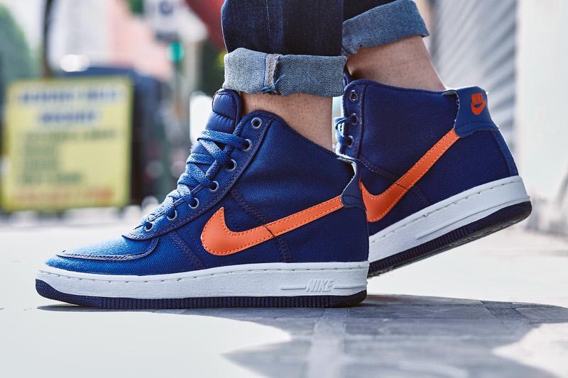 Nike Air Force 1 High Canvas Navy/Orange On-Foot Look