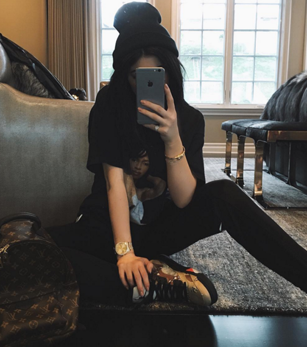 Kylie Jenner in the Supreme x Air Jordan 5