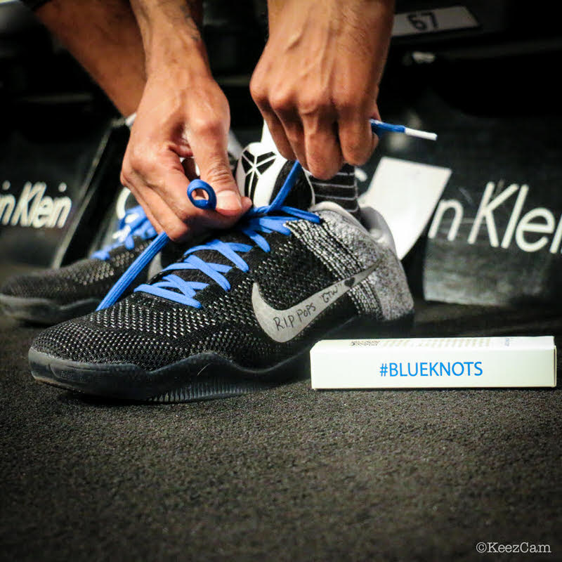 Brooklyn Nets Wear Blue Shoelaces In Honor Of Kiel Colon Cancer S Blue Knots Initiative Nice Kicks