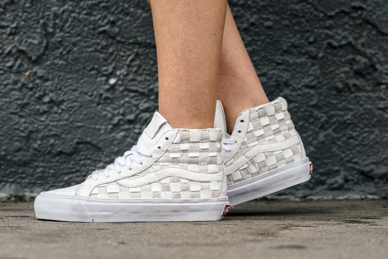 Vans Sk8-Hi Woven LX White/Beige On-Foot Look
