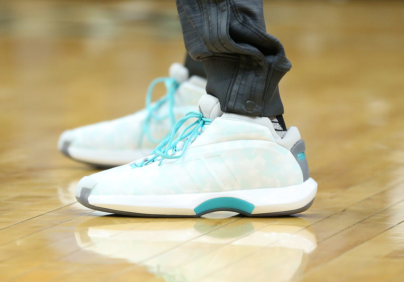 MINNEAPOLIS, MN -  APRIL 13:  The shoes of Andrew Wiggins #22 of the Minnesota Timberwolves are seen before the game against the New Orleans Pelicans on April 13, 2016 at Target Center in Minneapolis, Minnesota. NOTE TO USER: User expressly acknowledges and agrees that, by downloading and or using this Photograph, user is consenting to the terms and conditions of the Getty Images License Agreement. Mandatory Copyright Notice: Copyright 2016 NBAE (Photo by Jordan Johnson/NBAE via Getty Images)