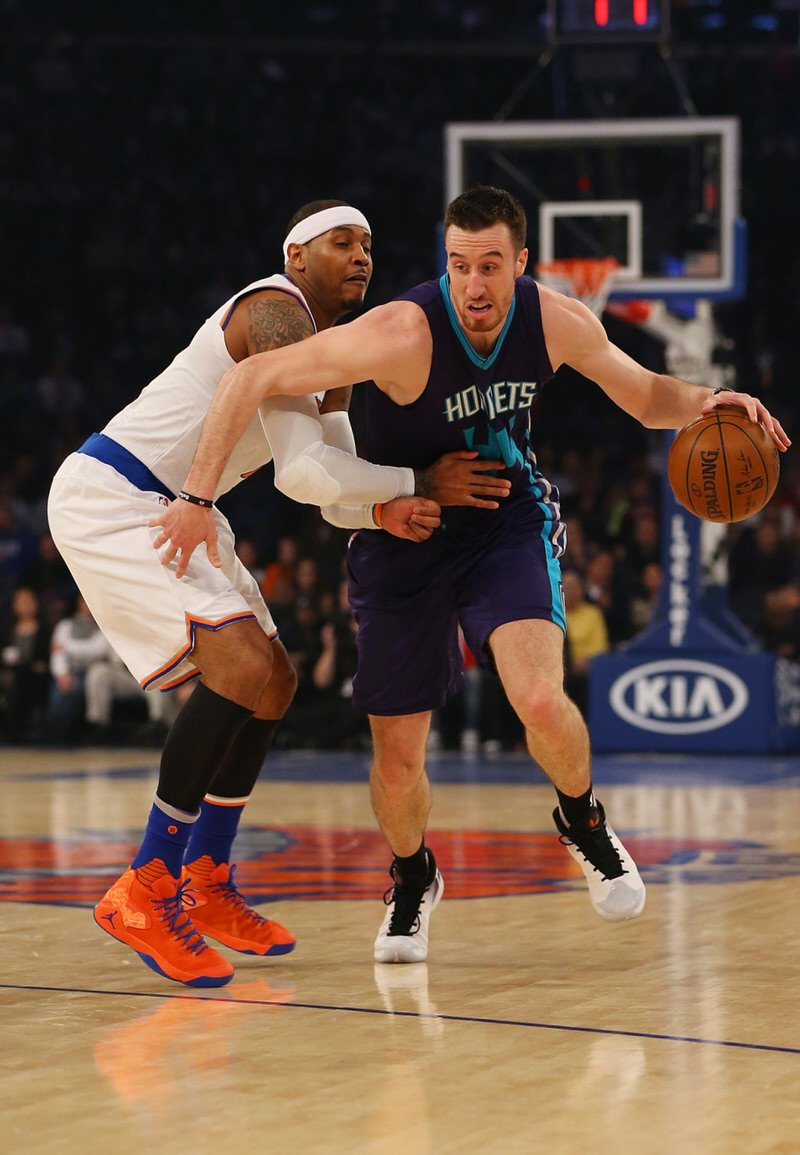 Carmelo Anthony and Frank Kaminsky in a Jordan Melo M12 PE and the Air Jordan XXX, respectively