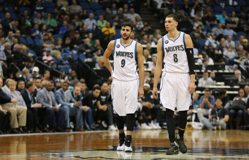 """Ricky Rubio and Zach LaVine in the adidas Crazy Light Boost and the Nike Kobe 11 """"Fade to Black,"""" respectively"""
