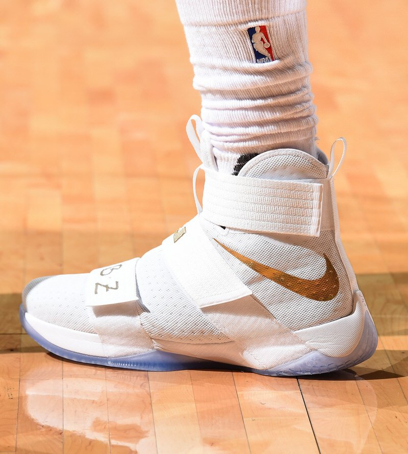 CLEVELAND, OH - JUNE 16: Shoes worn by LeBron James #23 of the Cleveland Cavaliers during the game against the Golden State Warriors during Game Six of the 2016 NBA Finals on June 16, 2016 at Quicken Loans Arena in Cleveland, Ohio. NOTE TO USER: User expressly acknowledges and agrees that, by downloading and/or using this Photograph, user is consenting to the terms and conditions of the Getty Images License Agreement. Mandatory Copyright Notice: Copyright 2016 NBAE (Photo by Andrew D. Bernstein/NBAE via Getty Images)