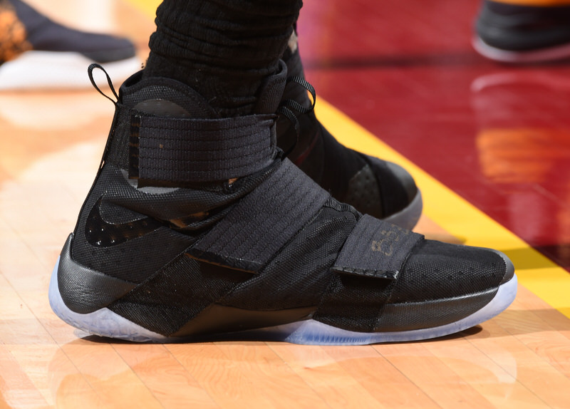 CLEVELAND, OH - JUNE 8: The shoes of LeBron James #23 of the Cleveland Cavaliers are seen against the Golden State Warriors during Game Three of the 2016 NBA Finals on June 8, 2016 at The Quicken Loans Arena in Cleveland, Ohio. NOTE TO USER: User expressly acknowledges and agrees that, by downloading and/or using this Photograph, user is consenting to the terms and conditions of the Getty Images License Agreement. Mandatory Copyright Notice: Copyright 2016 NBAE (Photo by Andrew D. Bernstein/NBAE via Getty Images)