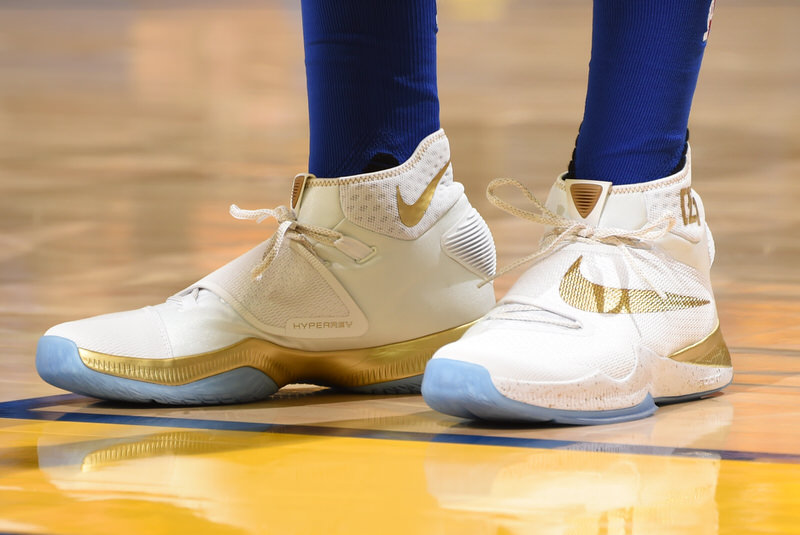 OAKLAND, CA - JUNE 2:  The shoes of Tristan Thompson #13 of the Cleveland Cavaliers are seen during the game against the Golden State Warriors in Game One of the 2016 NBA Finals on June 2, 2016 at Oracle Arena in Oakland, California. NOTE TO USER: User expressly acknowledges and agrees that, by downloading and or using this photograph, user is consenting to the terms and conditions of Getty Images License Agreement. Mandatory Copyright Notice: Copyright 2016 NBAE (Photo by Andrew D. Bernstein/NBAE via Getty Images)