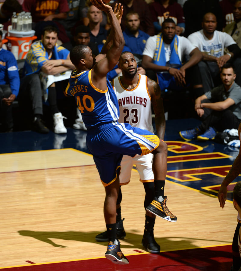 CLEVELAND, OH - JUNE 8: Harrison Barnes #40 of the Golden State Warriors shoots the ball during the game against the Cleveland Cavaliers during the 2016 NBA Finals Game Three on June 8, 2016 at Quicken Loans Arena in Cleveland, Ohio. NOTE TO USER: User expressly acknowledges and agrees that, by downloading and or using this Photograph, user is consenting to the terms and conditions of the Getty Images License Agreement. Mandatory Copyright Notice: Copyright 2016 NBAE (Photo by Garrett Ellwood/NBAE via Getty Images)