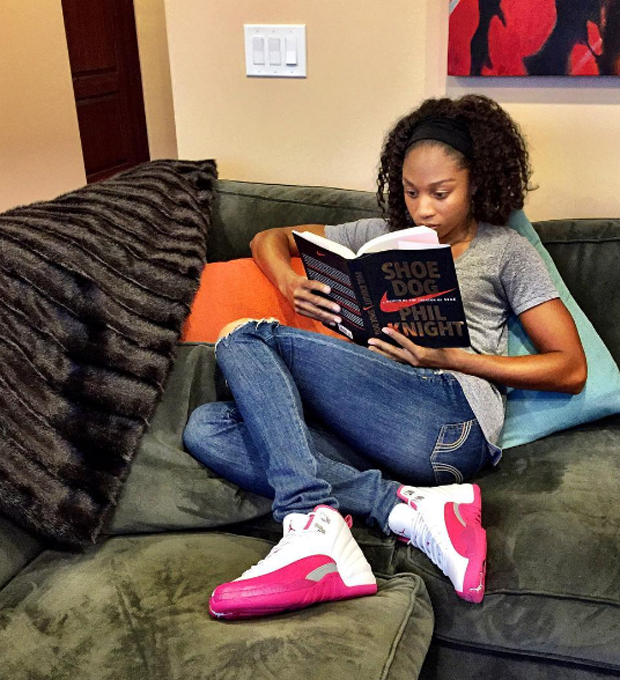 "Allyson Felix in the Air Jordan 12 ""Valentine's Day"""