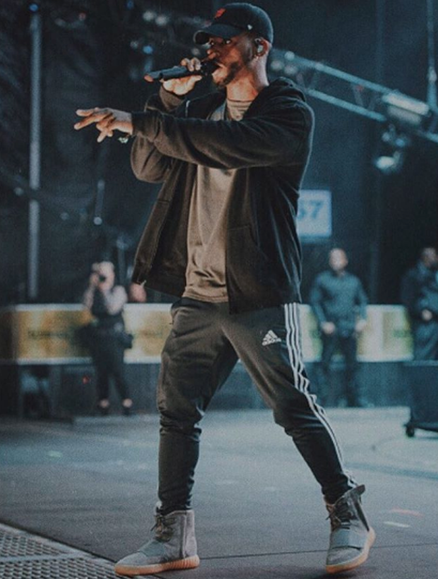 "Bryson Tiller in the adidas Yeezy Boost 750 ""Glow in the Dark"""