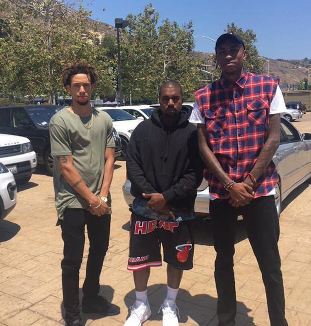 Kanye West in the adidas D Lillard 2 Primeknit