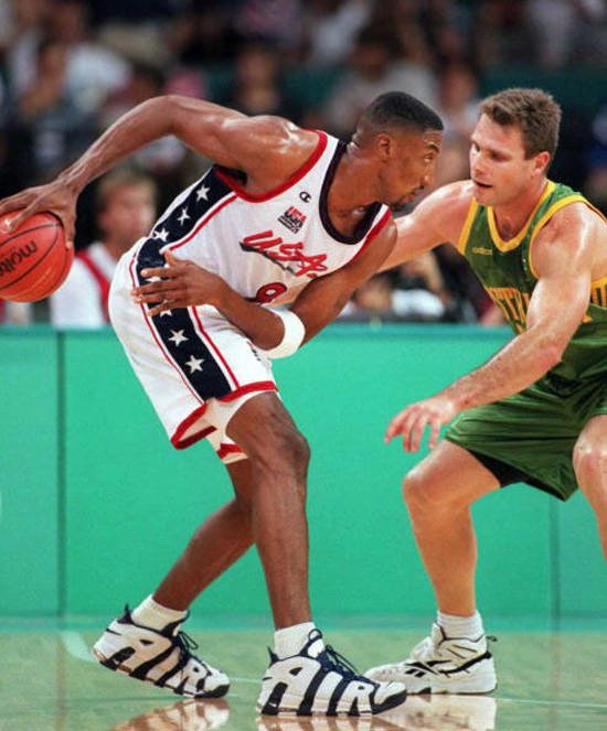 ATLANTA, GA - AUGUST 1: Scottie Pippen of the US (L) keeps the ball away from Australia's Andrew Vlahov during their Olympic semi-final basketball match 01 August. AFP/Bob DAEMMRICH (Photo credit should read BOB DAEMMRICH/AFP/Getty Images)