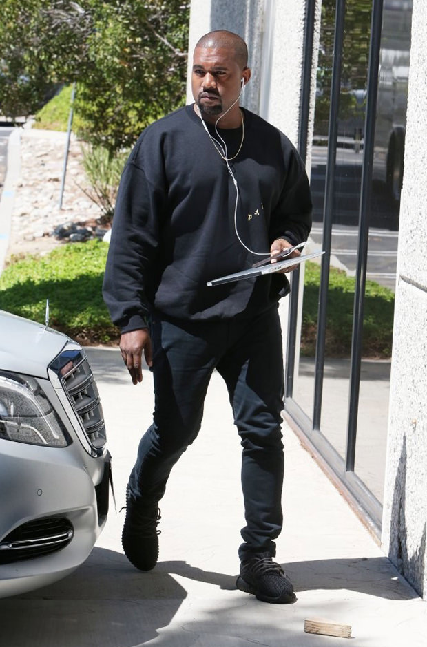 """Kanye West in the adidas Yeezy Boost 350 """"Pirate Black"""""""